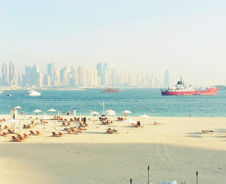 Enjoying the beach and the view in Dubai