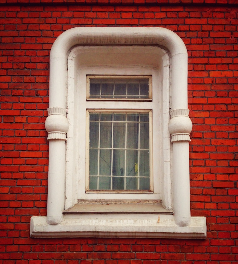 Window of old Russian house in Moscow